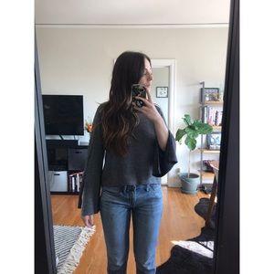 Zara Bell Sleeve Slit Blouse
